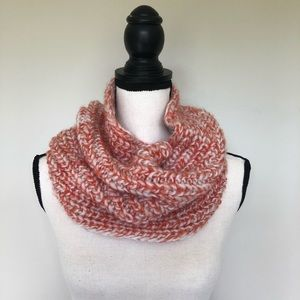 Accessories - Orange and white/ivory infinity scarf
